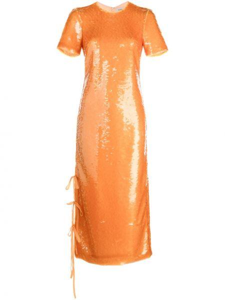 Прямое платье миди с пайетками на молнии с вырезом Prabal Gurung