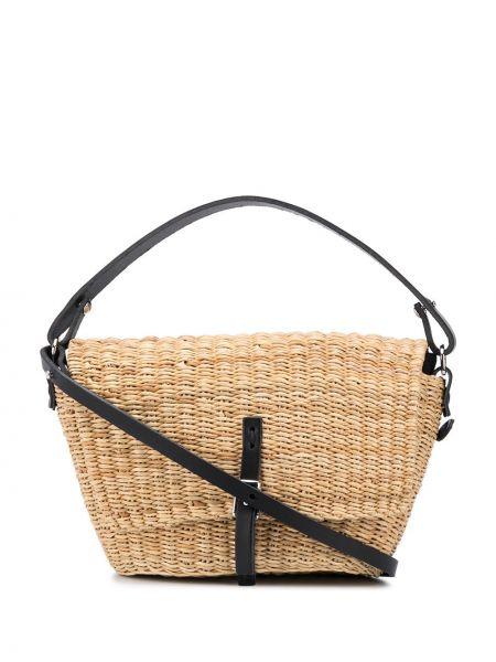 С ремешком черная сумка-тоут с пряжкой из натуральной кожи Muun