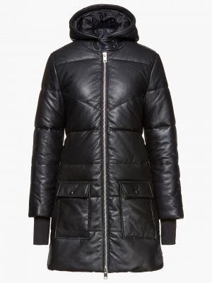 Стеганое кожаное черное пальто Walter Baker