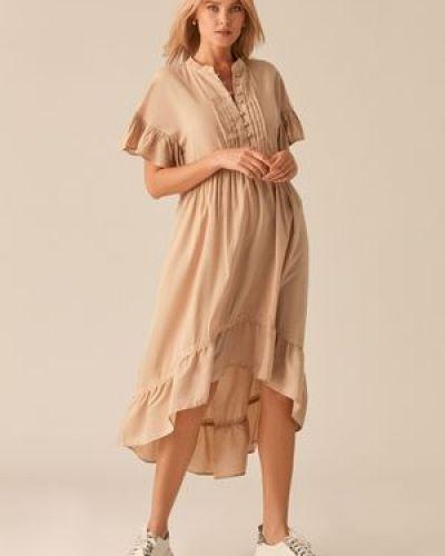 Платье в стиле бохо на пуговицах оверсайз с воротником Love Republic