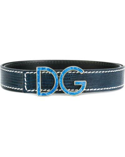 Синий ремень кожаный Dolce & Gabbana