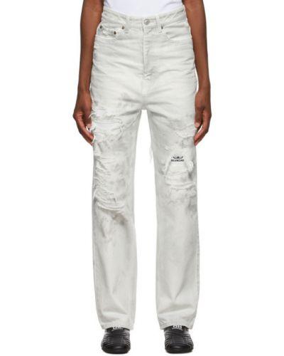 Bawełna biały jeansy o prostym kroju z kieszeniami z wkładkami Balenciaga