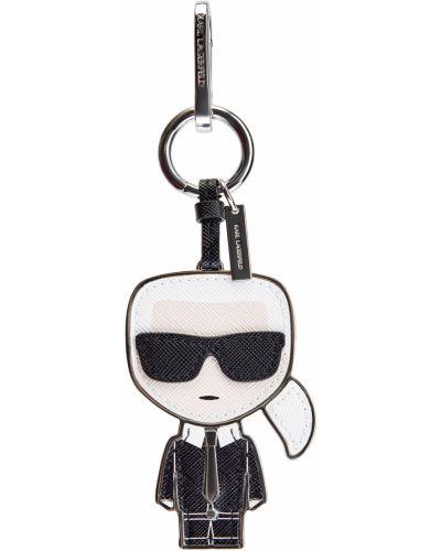 Черный кожаный брелок с сеткой Karl Lagerfeld