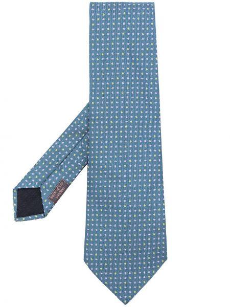 Żółty krawat z jedwabiu z printem Hermes