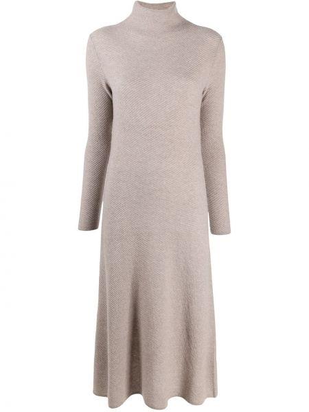 Платье миди с длинными рукавами - бежевое Agnona