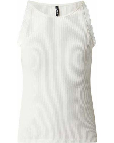 Prążkowany biały top bawełniany Pieces