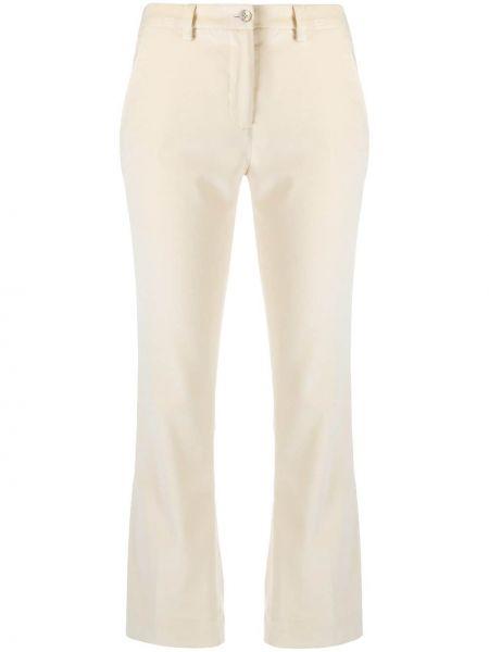 Хлопковые белые укороченные брюки на молнии Pt01