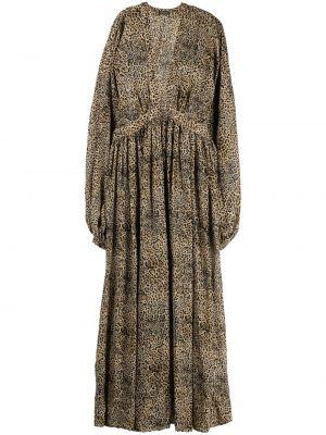 Расклешенное коричневое платье макси с вырезом Wandering