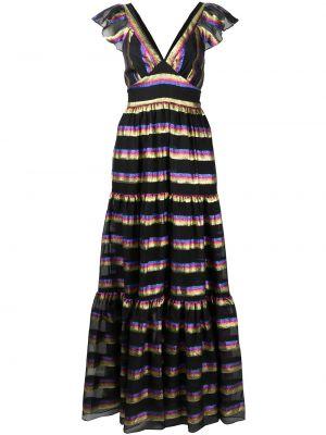 Черное шелковое платье макси с V-образным вырезом на молнии Temperley London