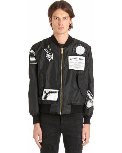Czarna kurtka z haftem z nylonu Madeworn X Jay Z