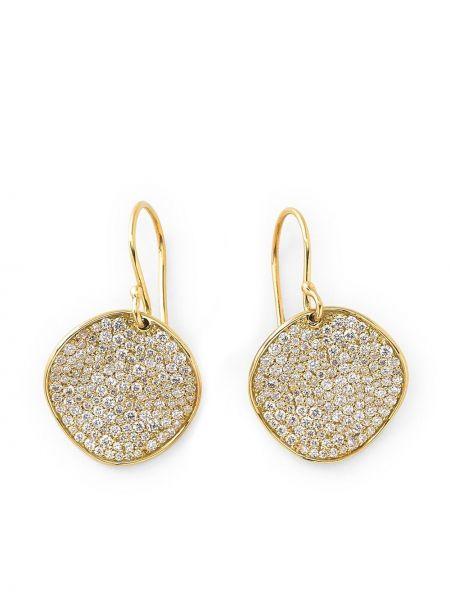 Золотистые золотые серьги золотые с бриллиантом Ippolita