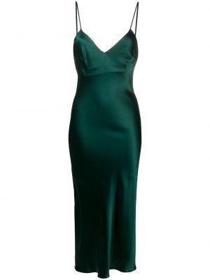 Брендовое шелковое зеленое платье миди Gilda & Pearl