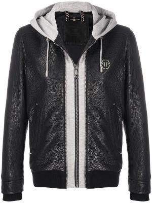 Кожаная куртка с капюшоном - черная Philipp Plein
