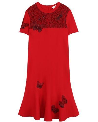 Платье мини трикотажное с цветочным принтом Valentino