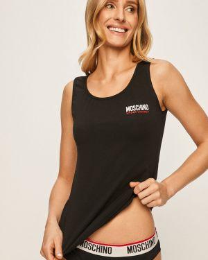Czarny top bawełniany z printem Moschino Underwear