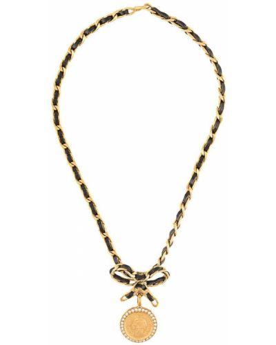 Skórzany z paskiem medalion złoto na hakach Chanel Pre-owned