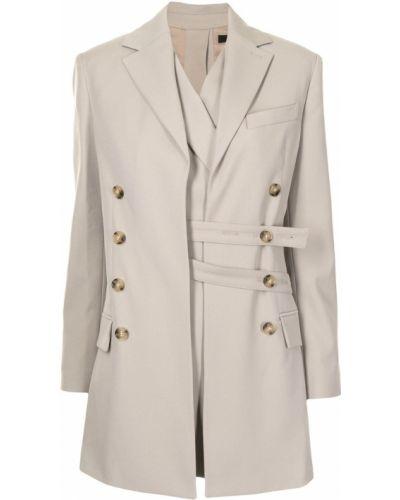 Шерстяной коричневый удлиненный пиджак с поясом Rokh