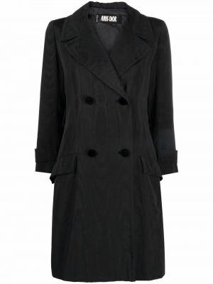 Czarny trencz z paskiem z długimi rękawami Christian Dior