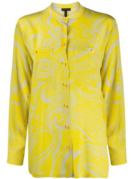 Żółta bluzka z długimi rękawami z jedwabiu Escada