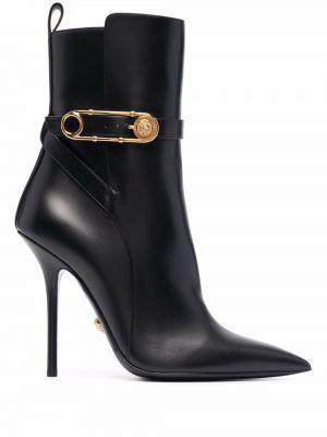 Ботильоны на каблуке - черные Versace