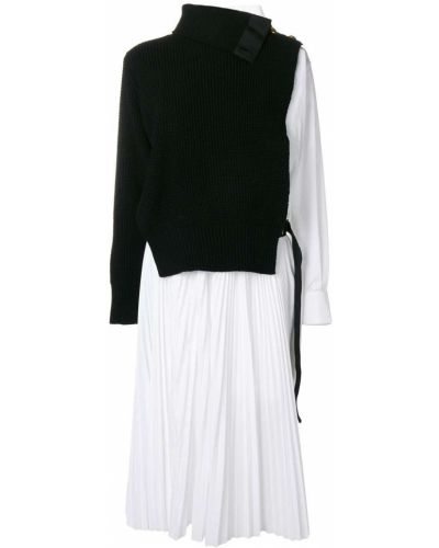 Платье миди с вырезом расклешенное Sacai