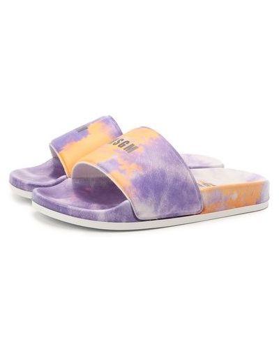 Фиолетовые шлепанцы свободного кроя Msgm Kids