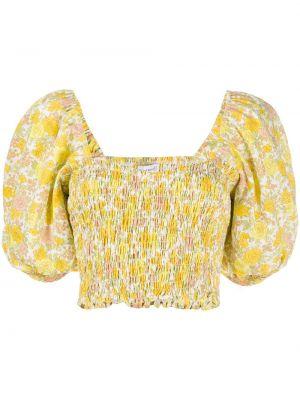 Желтый топ квадратный с вырезом с короткими рукавами Faithfull The Brand