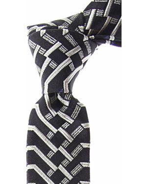 Czarny krawat w paski z jedwabiu Christian Lacroix