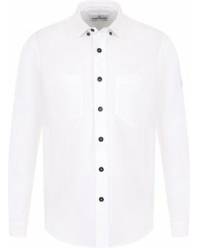 Оксфордская рубашка с вышивкой с розами Stone Island