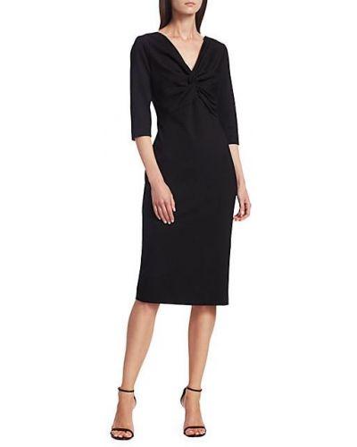 С рукавами черное платье-футляр с V-образным вырезом Escada