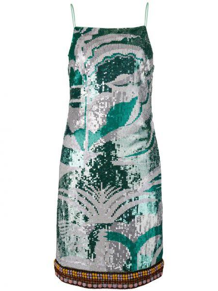 Шелковое тонкое платье миди с пайетками на бретелях Emilio Pucci