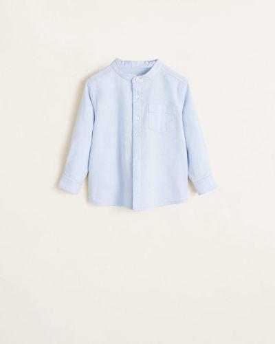Рубашка с узором синий Mango Kids