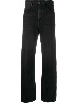 Хлопковые серые широкие джинсы свободного кроя Alexander Wang