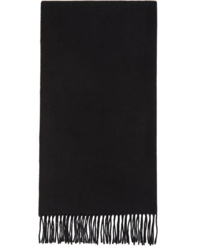 Wełniany czarny szalik prostokątny Etudes