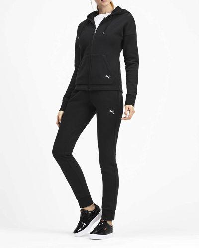 Czarny dres bawełniany z kapturem Puma