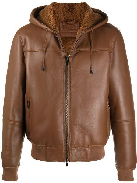Кожаная коричневая прямая куртка с капюшоном на молнии Desa 1972