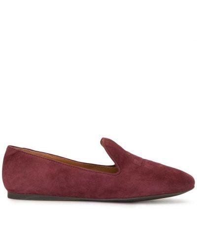 Loafers zamszowe - czerwony Tory Burch