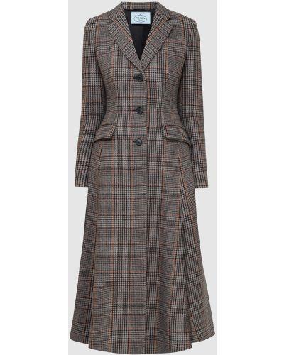 Черное кашемировое пальто Prada