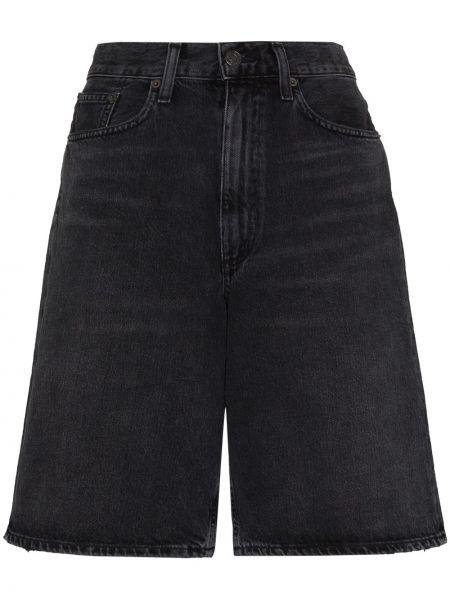Bawełna niebieski jeansy na wysokości z kieszeniami wysoki wzrost Agolde