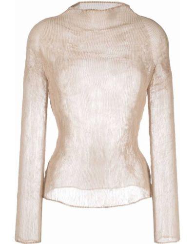 Koszulka z długimi rękawami - beżowa Issey Miyake