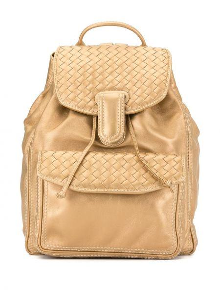 Кожаная золотистая желтая кожаная сумка с карманами Bottega Veneta Pre-owned