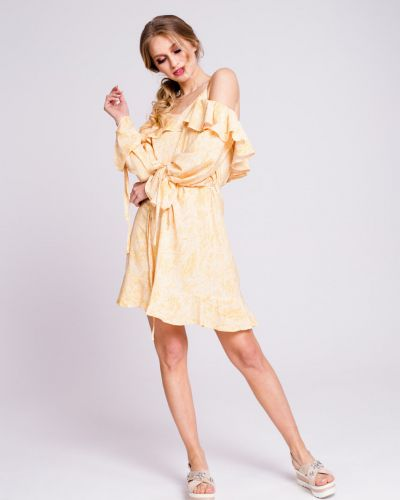 Желтое платье мини с открытыми плечами с вырезом Naoko
