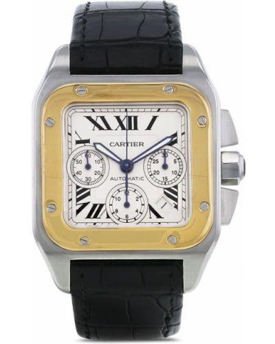Кожаные часы на кожаном ремешке золотые квадратные Cartier
