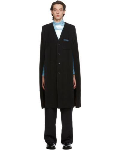 Bawełna czarny wełniany peleryna z łatami Raf Simons