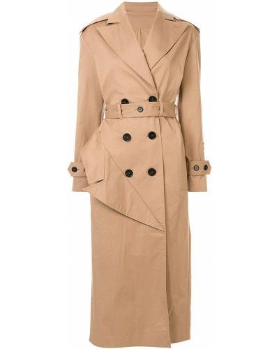 Коралловое длинное пальто с поясом Ruban