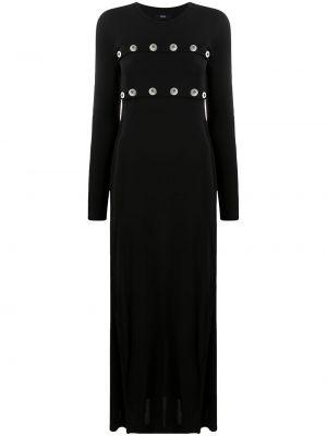 С рукавами черное платье макси с вырезом Diesel