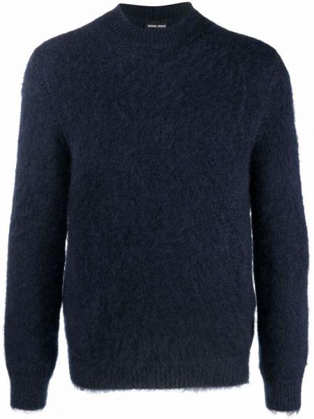 Niebieski sweter moherowy z długimi rękawami Giorgio Armani