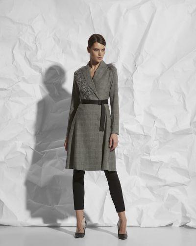 Платье с поясом серое с запахом Vassa&co