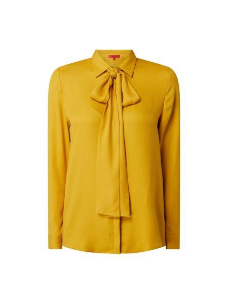 Żółty bluzka z kołnierzem z mankietami z wiskozy Hugo