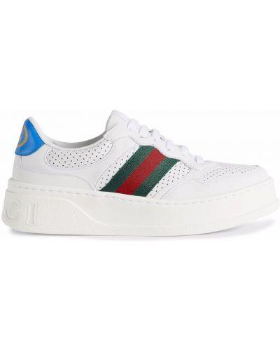 Buty sportowe skorzane - białe Gucci